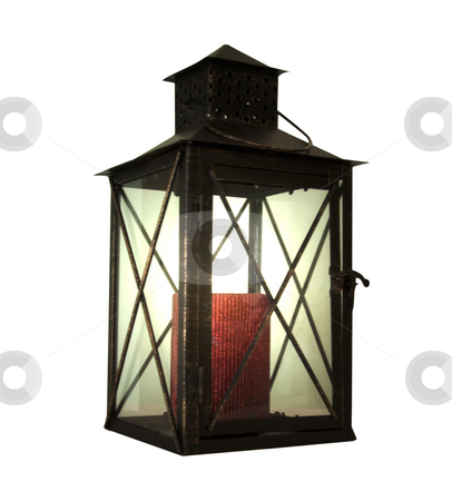 Lantern stock photo, Light lantern with red candle over white background by Fabio Alcini