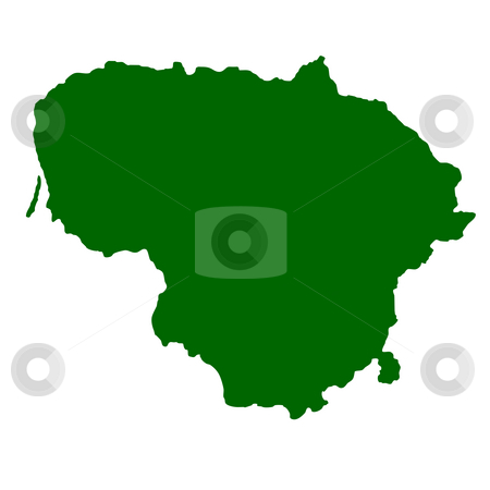 Lithuania stock photo, Map of Lithuania isolated on white background. by Martin Crowdy
