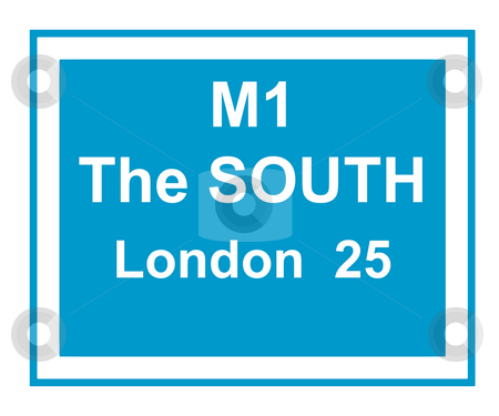 M1 motorway London sign stock photo, Illustration of M1 motorway sign saying, the south, London 25 miles. by Martin Crowdy