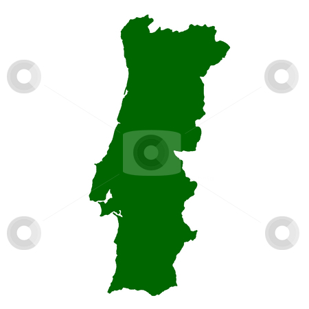Portugal stock photo, Map of Portugal isolated on white background. by Martin Crowdy