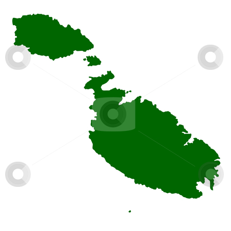 Malta stock photo, Map of Malta isolated on white background. by Martin Crowdy