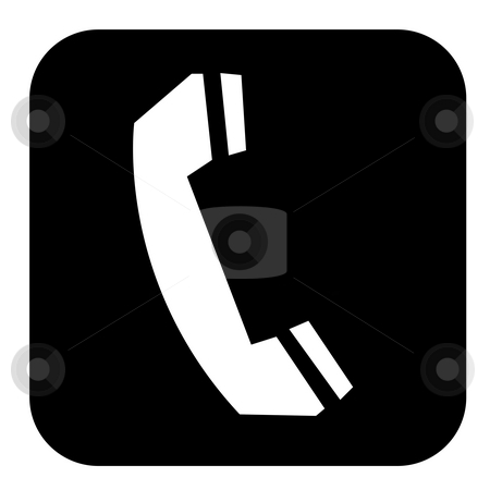Retro telephone button stock photo, Retro telephone button isolated on white background. by Martin Crowdy