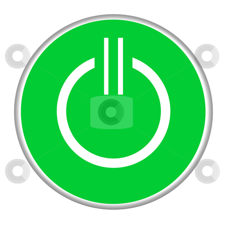 Power button stock photo, Green power button isolated on white background. by Martin Crowdy