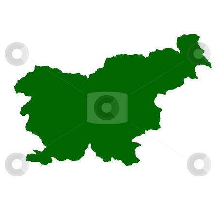 Slovenia stock photo, Map of Slovenia isolated on white background. by Martin Crowdy