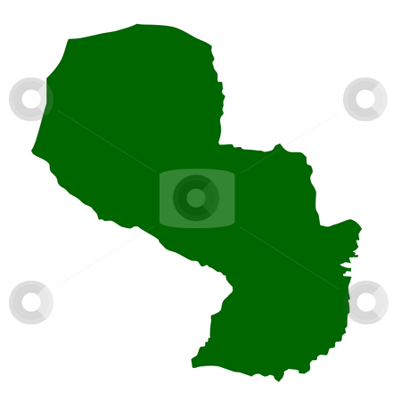 Paraguay stock photo, Map of Paraguay isolated on white background. by Martin Crowdy