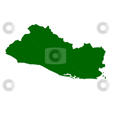 El Salvador stock photo, Map of El Salvador, isolated on white background. by Martin Crowdy