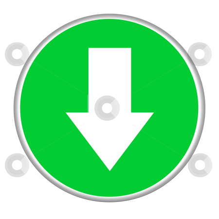 Download button stock photo, Green download button isolated on white background. by Martin Crowdy