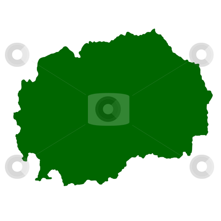 Macedonia stock photo, Map of Macedonia isolated on white background. by Martin Crowdy