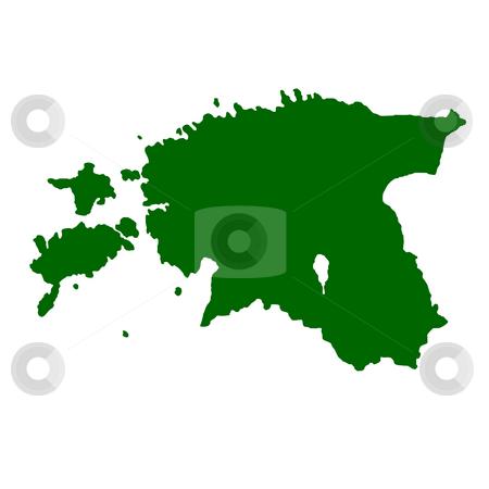 Estonia stock photo, Map of Estonia isolated on white background. by Martin Crowdy