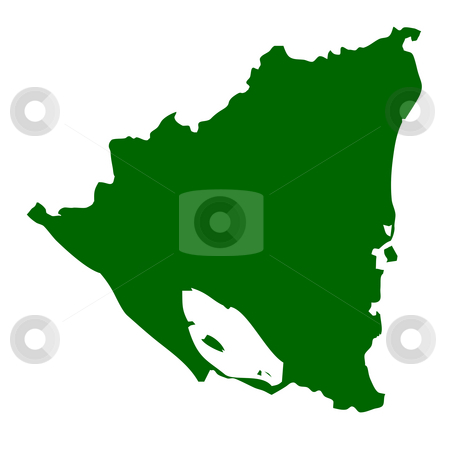 Nicaragua stock photo, Map of Nicaragua, isolated on white background. by Martin Crowdy