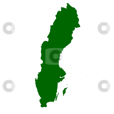 Sweden stock photo, Map of Sweden isolated on white background. by Martin Crowdy