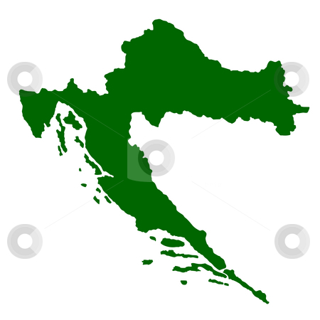 Croatia Map stock photo, Map of Croatia isolated on white background. by Martin Crowdy