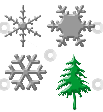 Snowflakes and Christmas tree stock photo, Set of silver snowflakes and Christmas tree isolated on white background. by Martin Crowdy
