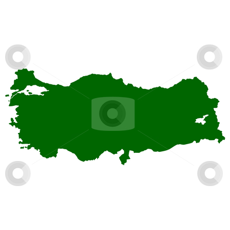 Turkey stock photo, Map of Turkey isolated on white background. by Martin Crowdy