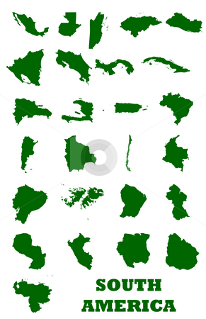 South America Maps stock photo, Set of maps of South America isolated on white background. by Martin Crowdy