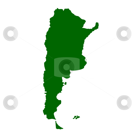 Argentina stock photo, Map of Argentina isolated on white background. by Martin Crowdy
