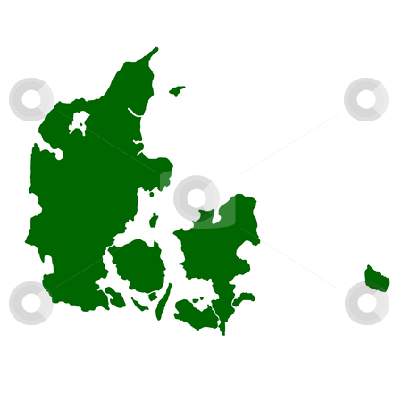 Denmark stock photo, Map of Denmark isolated on white background. by Martin Crowdy