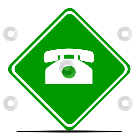 Retro telephone sign stock photo, Retro telephone road sign, isolated on white background. by Martin Crowdy