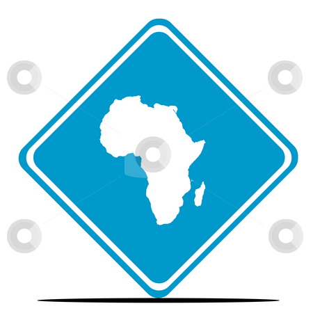 Africa road sign stock photo, Africa continent road sign isolated on white background. by Martin Crowdy