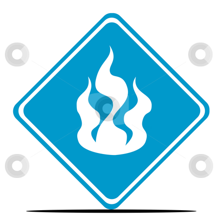 Fire warning sign stock photo, Blue fire diamond shaped sign isolated on white background. by Martin Crowdy
