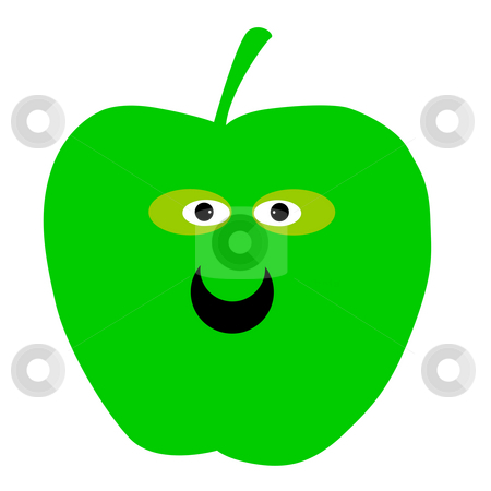 Smiling green apple stock photo, Illustration of smiling green apple isolated on white background. by Martin Crowdy