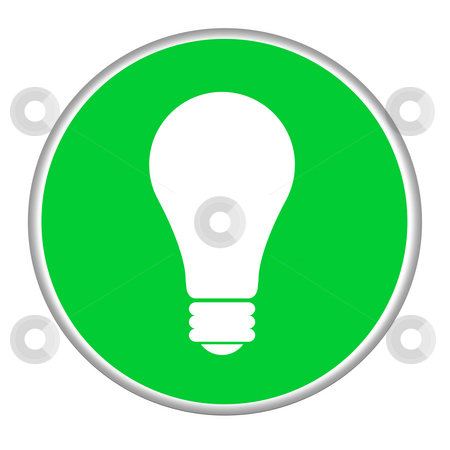 Ideas button stock photo, Green lightbulb idea concept button isolated on white background. by Martin Crowdy