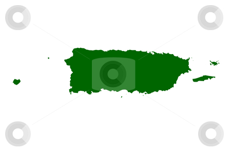 Puerto Rico  stock photo, Map of Puerto Rico, isolated on white background. by Martin Crowdy