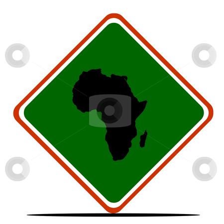 Africa sign stock photo, African continent sign in colors of Pan-African flag, isolated on white background. by Martin Crowdy