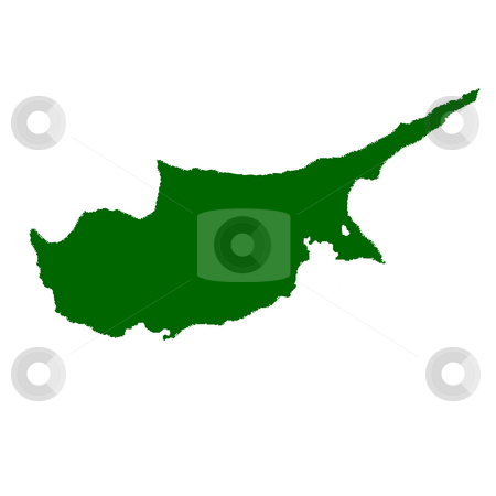Cyprus stock photo, Map of Cyprus isolated on white background. by Martin Crowdy