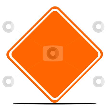 Blank orange sign stock photo, Diamond shaped blank orange sign isolated on white background. by Martin Crowdy