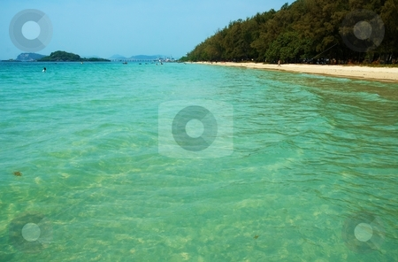 Seacoast with vibrant turquoise water  stock photo, Vibrant turquoise water on the seacoast. White sand sea and sun   by Oleg Blazhyievskyi