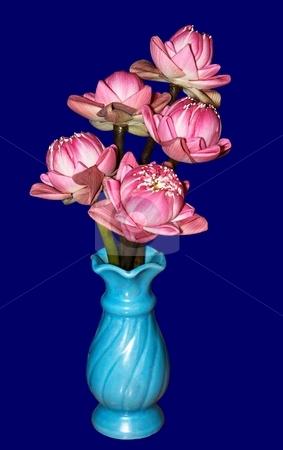 Lotus bouquet in vas  stock photo, Pinks Lotus bouquet in vas isolated on blue. by Oleg Blazhyievskyi