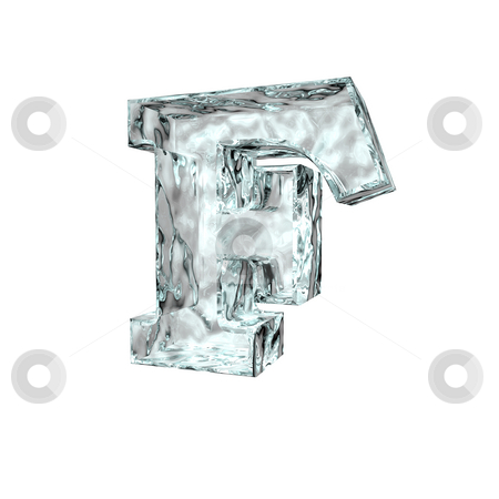 Frozen letter F stock photo, Frozen uppercase letter F on white background - 3d illustration by J?