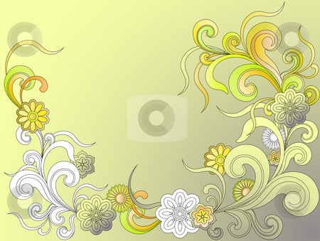 Fantasy background with flowers stock vector clipart, Fantasy background with flowers by Vitaliya Piliuhina