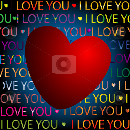 Heart and color text stock photo, Hearts and color text on an abstract background by Alina Starchenko