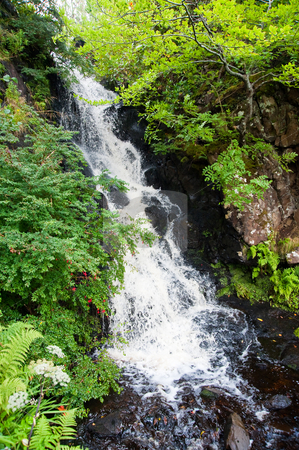 Highlands waterfall stock photo, Waterfall in the Highlands of Scotland by Jaime Pharr