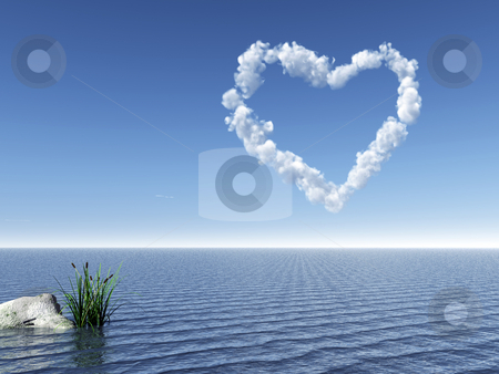Heart stock photo, Water landscape with cloudy heart symbol in the sky - 3d illustration by J?