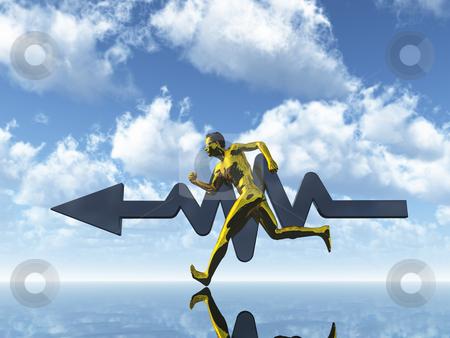 Sports stock photo, Running gold man under blue sky - 3d illustration by J?