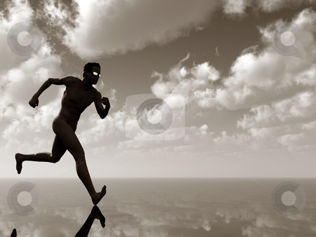 Run stock photo, Naked runner with sun glasses under cloudy sky - 3d illustration by J?