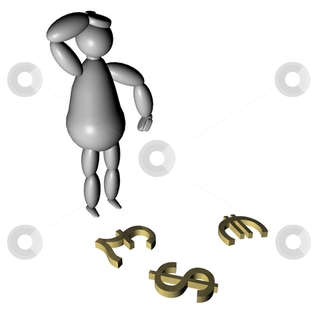 3D puppet with currency symbols stock photo, 3D puppet looking at currency symbols on the ground by Fabio Alcini