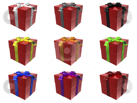 Gift boxes stock photo, 9 red gift boxes with different ribbon colors by Mile Atanasov