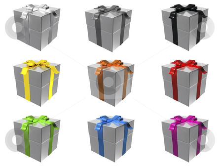Gift boxes stock photo, 9 silver gift boxes with different ribbon colors by Mile Atanasov
