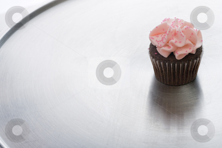 Chocolate Cupcake on Silver Tray stock photo, A chocolate cupcake is sitting on a silver tray.  Horizontally framed shot. by Paul Burns