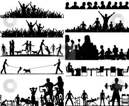 People foregrounds stock vector clipart, Set of editable vector people silhouettes as foregrounds by Robert Adrian Hillman