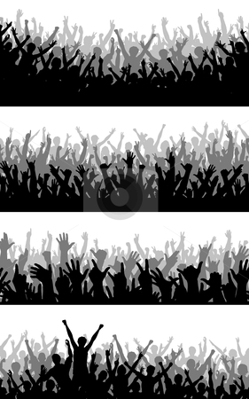 Crowd foregrounds stock vector clipart, Set of editable vector silhouettes of cheering crowds by Robert Adrian Hillman