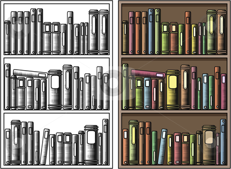 Bookcase stock vector clipart, Editable vector illustration of books in a bookcase with all books as separate objects by Robert Adrian Hillman