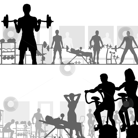 Gymnasium stock vector clipart, Two editable vector silhouettes of people exercising in the gym by Robert Adrian Hillman