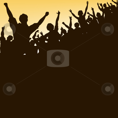 High crowd stock vector clipart, Editable vector silhouette looking up at a celebrating crowd by Robert Adrian Hillman
