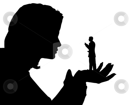 Belittled stock vector clipart, Editable vector silhouette of a miniature man in the palm of a woman's hand with both figures as separate objects by Robert Adrian Hillman