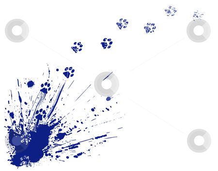 Cat spill footprints stock vector clipart, Editable vector illustration of an ink spill and cat pawprints by Robert Adrian Hillman